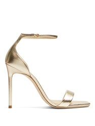 Saint Laurent Amber Metallic Leather Sandals Gold