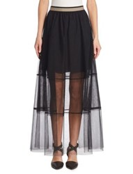 Brunello Cucinelli Long Tulle Skirt Black