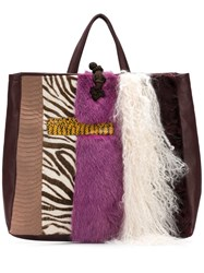 Liska Mink Fur And Lamb Fur Tote Pink