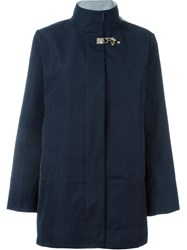 Fay Hook Fastening Short Coat Blue