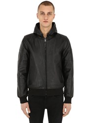 Schott Hooded Perforated Leather Jacket Black