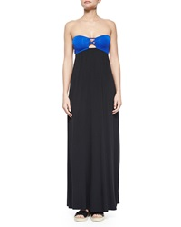 L Space Swimwear By Monica Wise Jacques Colorblock Strapless Maxi Dress