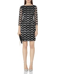 Reiss Mirte Embroidered Dress Black Silver