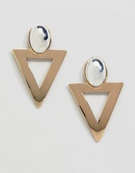 Monki Triangle Earrings In Gold And Silver Gold And Silver Yellow