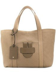 Tila March Simple Large Tote Bag Cotton Leather Brown