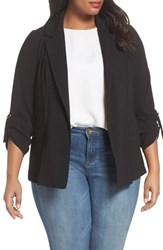 Evans Plus Size Women's Crepe D Ring Jacket Black