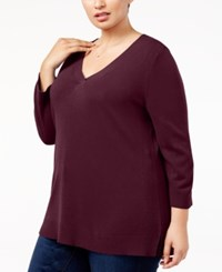 a3caa1bfbaf3e Karen Scott Plus Size Luxsoft V Neck Sweater Created For Macy s Merlot