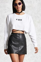 Forever 21 K Bye Graphic Crop Top White Black