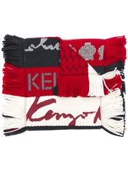 Kenzo Fringed Stripe Scarf Red