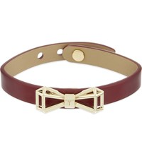Ted Baker Geometric Bow Leather Bracelet Oxblood