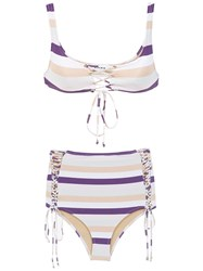Amir Slama Striped Bikini Set Pink