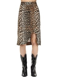 Ganni Leopard Printed Silk Blend Midi Skirt