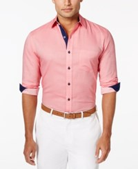 Tasso Elba Men's Core Heather Diamond Long Sleeve Shirt Only At Macy's Red Combo