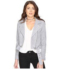 Blank Nyc Grey Suede Moto Jacket In Cloud Grey Cloud Grey Women's Coat Multi