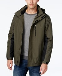 Izod Men's Two Tone Ski Jacket Olive Black