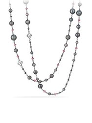 David Yurman Oceanica Pearl And Bead Link Necklace With Grey Pearls And Hematine Silver