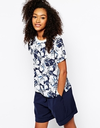 Monki Woven T Shirt In Print Blue