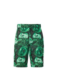 Prada Poppy Print Poplin Shorts Green