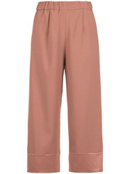 Olympiah Juanita Panelled Pantacourt Trousers Pink And Purple