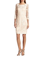 Sue Wong Soutache Embroidered Illusion Dress Taupe