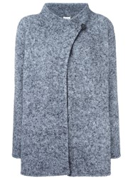 Armani Collezioni High Neck Wrap Coat Grey