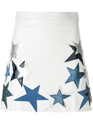 Manokhi Star Patch A Line Skirt Leather Polyester Viscose White