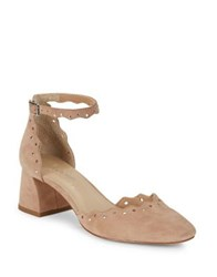 424 Fifth Brandi Embellished Leather Block Heels Rosebud