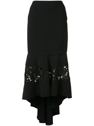 Christian Siriano Fitted Lace Panel Skirt Women Polyester Polyurethane Silk Crepe 8 Black