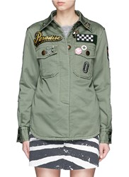 Marc Jacobs Embellished Enzyme Wash Padded Military Shirt Green