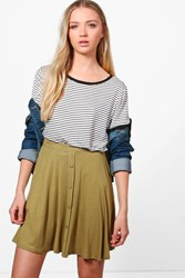 Boohoo Arianna Button Front Jersey Skater Skirt Olive