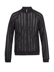 Cottweiler Zip Through Pleated Lace Track Top Black