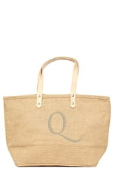 Cathy's Concepts 'Nantucket' Personalized Jute Tote Beige Natural Q