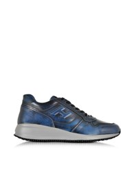 Hogan Dark Blue Leather Wedge Sneaker