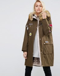Asos Badged Parka With Satin Lining Khaki Green