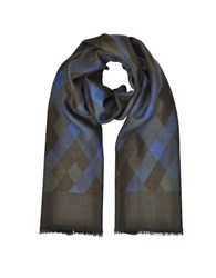 Laura Biagiotti Men's Scarves Diamond Printed Wool Silk And Cashmere Long Scarf