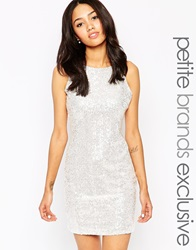 True Decadence Petite Sequin Bodycon Dress White