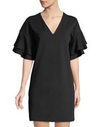 Kensie Ruffle Tiered Stretch Crepe Shift Dress Black