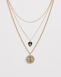 Monki Multi Layer Necklace With Eye Detail In Gold
