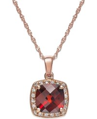 Macy's Garnet 2 1 4 Ct. T.W. And Diamond Accent Pendant Necklace In 14K Rose Gold