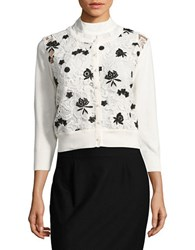Karl Lagerfeld Lace Accented Cardigan Ivory Black