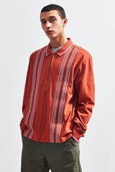 Urban Outfitters Uo Blocked Full Zip Polo Shirt Dark Orange