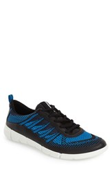 Men's Ecco 'Intrinsic Knit' Sneaker Black Dynasty Blue Leather