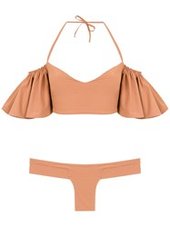 Amir Slama Ruffled Bikini Set Neutrals