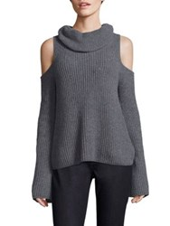 Elie Tahari Torrence Cashmere Cold Shoulder Sweater Charcoal