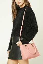 Forever 21 Faux Leather Satchel Pink