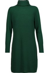 Magaschoni Ribbed Cashmere Turtleneck Sweater Dress Emerald