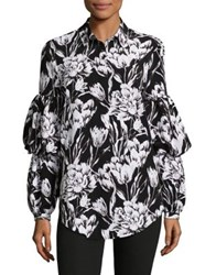 Imnyc Isaac Mizrahi 3 Tier Blousant Sleeve Collared Button Up Shirt Black Tonal Floral