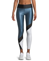 Lanston Jenner Colorblock Performance Leggings Black Blue