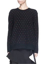 Givenchy Mini Cross Print Wool Cashmere Sweater Black