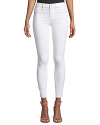 7 For All Mankind B Air Mid Rise Ankle Skinny Jeans With Faux Front Pockets White